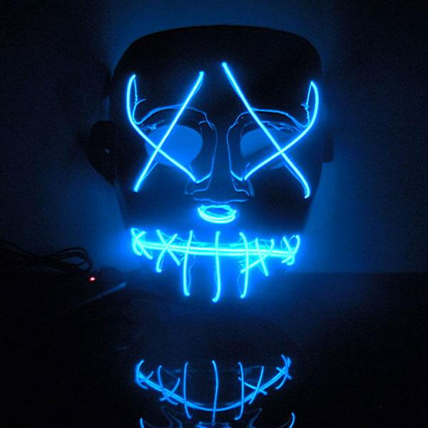 Wholesale- 2016 New Year Flash El Wire Led Glowing Fashion Funny Mask for Party Hot Sale