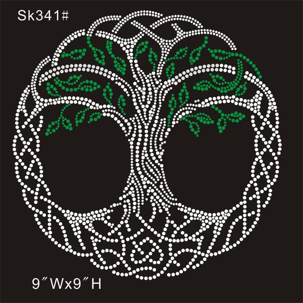 SK 341# Crystal green tree custom from china factory rhinestone transfer designs DIY iron on t-shirt 30piece