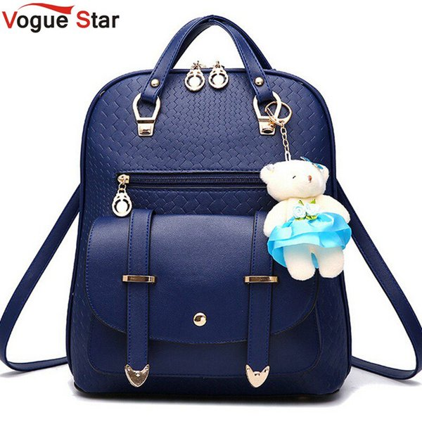 Wholesale- Vogue Star 2017 New Casual Girls Backpack PU Leather Fashion Women Backpack School Travel Bag With Bear Doll For Teenagers LA148