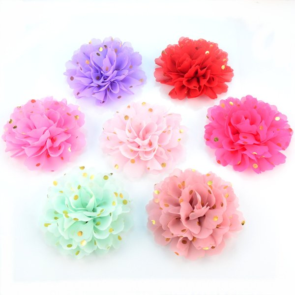 free shipping 32pcs/lot Baby infant flower print gold dots for hair bands Ballet Dance shoes flowers big chiffon rose for girls H0251
