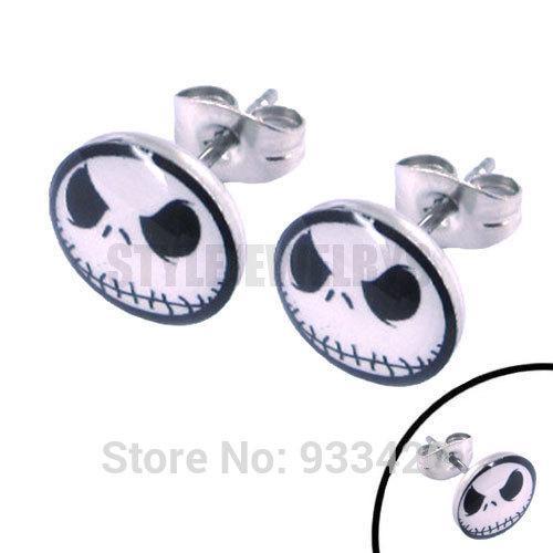 Free Shipping! Enamel Jason Ghost skull Earrings Stainless Steel Jewelry Fashion Lovely Motor Earring Studs SJE370041
