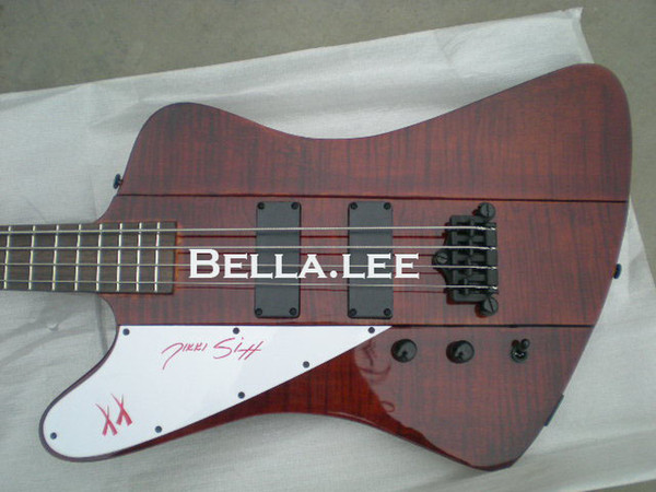 Dark red flame top 4 string firebird electric bass guitar,Made in China,free shipping bass