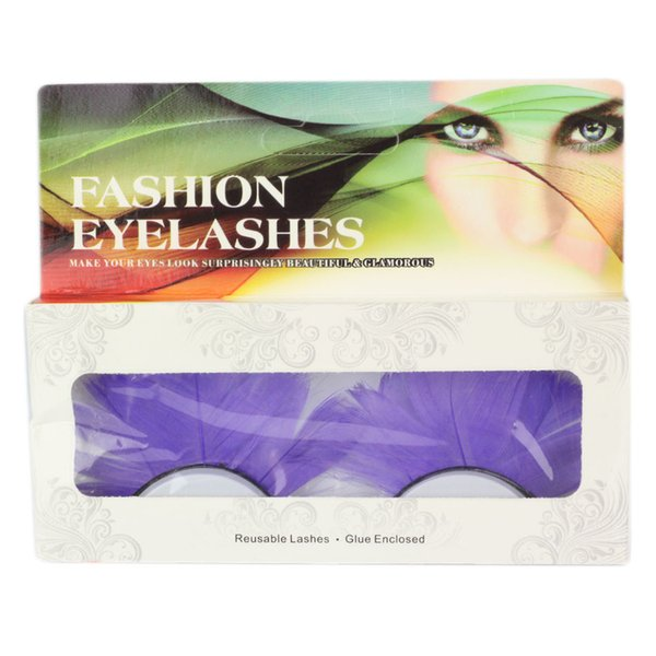 Exaggerated lashes 1 Pair / sets of Colorful Lights Purple Spot Feathers False Eyelashes For the Party Makeup Beauty Extension Tool