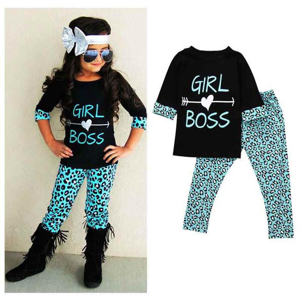Sonbahar Kızlar Okula Geri Toddler Kıyafet Moda Leopar Baskılı Çocuklar Butik Giyim Seti Batı Kızlar 2 adet kız tees pantolon set