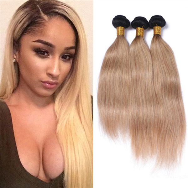 Honey Blonde Weave Bundles Brazilian Ombre Human Hair 1B 27 Silk Straight Cheap Two Tone Ombre Brazilian Hair Straight 3 Pcs Lot