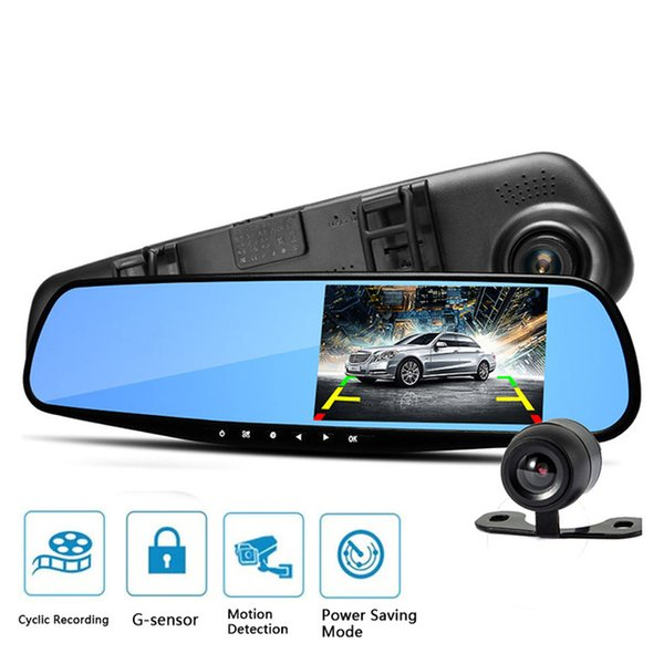 car cameras car dvr waterproof dual lens rearview mirror right display camera auto cars dvr recorder video full hd1080p dash cam camcorder