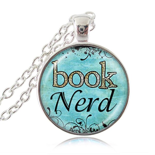 Wholesale Book Nerd Necklace Quotes Pendant Blue Glass Cabochon Art Print Jewelry Charm Gifts For Her Him Book Lover Teacher Librarian Necklace