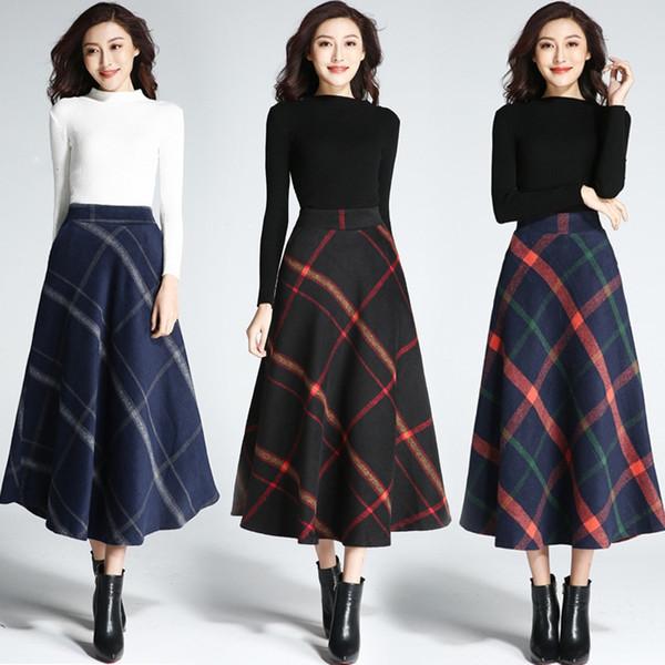 cffc098de801 A-ligne laine jupe à carreaux pour les femmes taille élastique fermeture à  glissière latérale