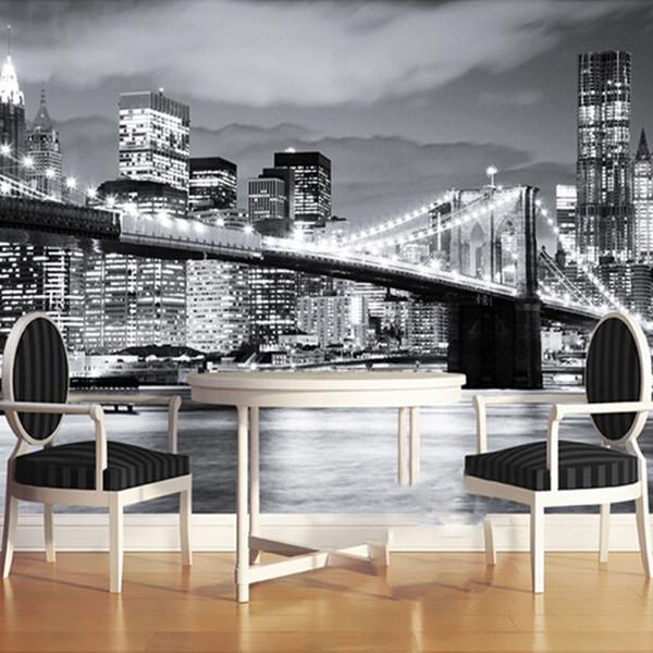 Custom Mural Manhattan Bridge New York European And American Cities Black And White Living Room Backdrop Wallpaper