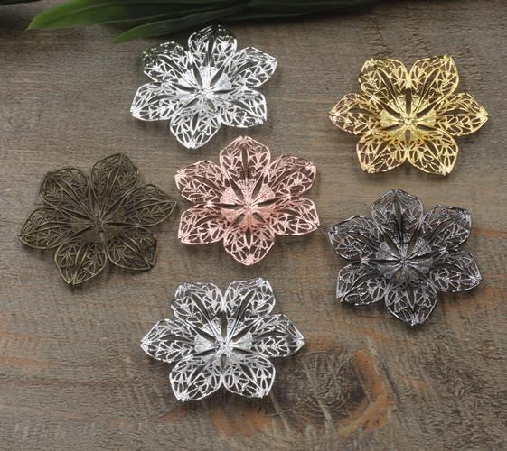 07398 40mm antique bronze silver rose gold gun black filigree flower charms for jewelry making, bead cap metal necklace pendant for bracelet