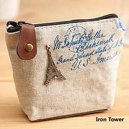 Wholesale- 1PCS Women Canvas Coin Purse Retro Classic Nostalgic Small Money Bags Fashion Vintage Zipper Coin Purse wallets Mini bag