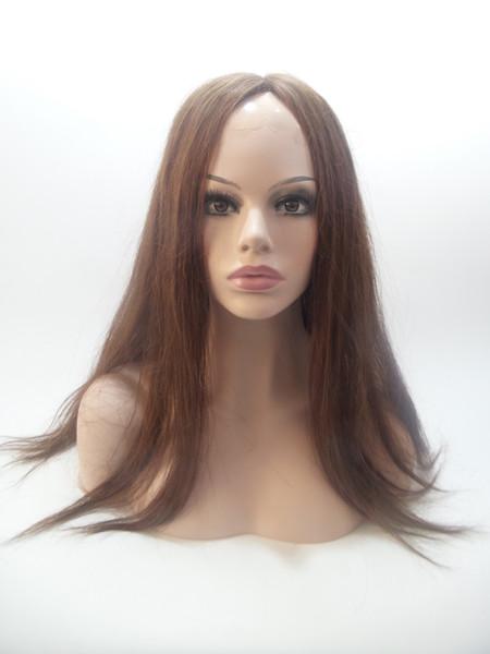 Farbe 4 # Direkt Volles Haar Volle Spitzeperücke Nahtlose Dichte 130% Hohe Qualität Seide Simulation Kopfhaut Nicht-klebriges Haar Bleaching Knots WIGS