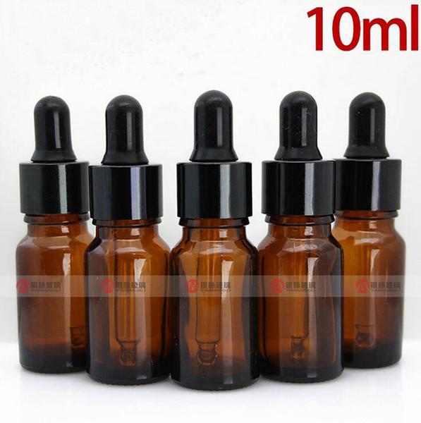 Cheap Price 768pcs/lot 10ml Empty Amber Glass Dropper Essential Oil Bottle Wholesale with Black Screw Cap