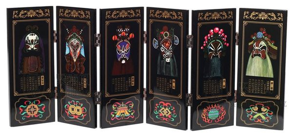 Antique screen six Peking opera fan painting crafts business gifts, gifts Foreign Affairs Home Furnishing jewelry ornaments