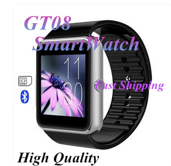 top popular GT08 Smart Watch Phone Wrist Wear For Android IOS Support SIM TF Card Camera Pedometer Sleep Monitoring VS DZ09 High Quality 2020