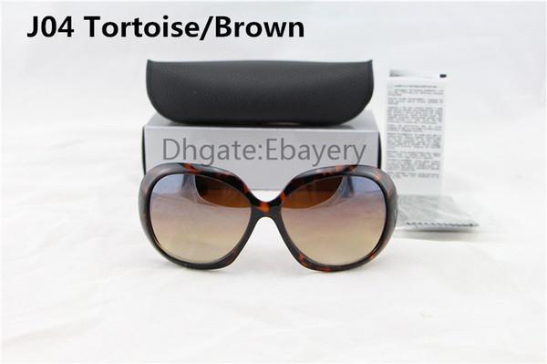 Gafas de sol del diseñador de las señoras de la alta calidad del envío de la tortuga Marco grande UV400 Gafas de sol con la caja de la caja 6 colores seleccionados