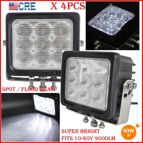 """DHL 4PCS 6"""" 90W CREE Chips LED Driving Working Light 9LED*10W Offroad SUV ATV 4WD Spot Pencil / Flood Spread Beam 9000LM Heavy SUPER Bright"""