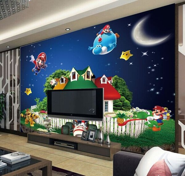 Atacado super mario mural 3d mural dos desenhos animados 3d mural de parede papel de parede para crianças crianças quarto do bebê 3d murais de parede fresco adesivo