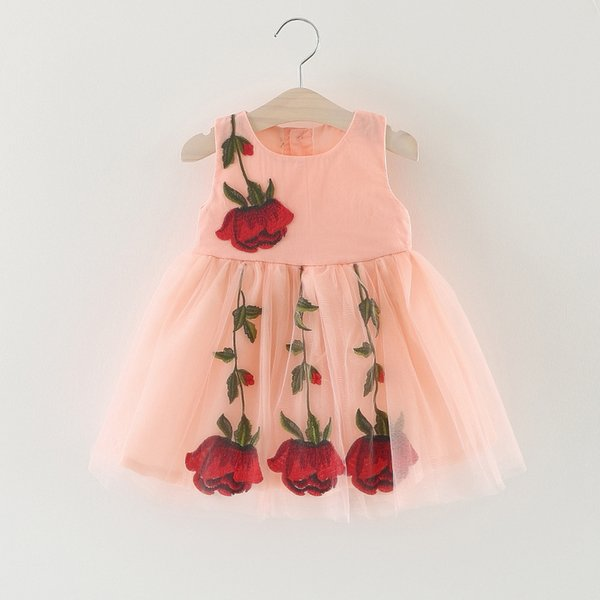 Cute Lace Girl Dress Baby Girl Summer TUTU Dress Baby Abbigliamento per bambini senza maniche Bambina Rose Flower Princess Skirt