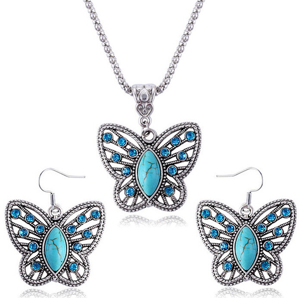 12set/lot Turquoise Butterfly Earrings Necklace Set Fashion Crystal Butterfly Animal Necklace Earring Sets free shipping