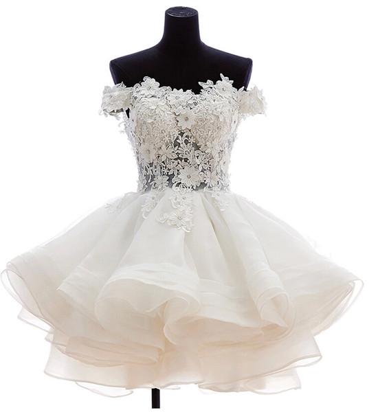 best selling 2020 Short Puffy Evening prom dresses Off Shoulder Lace Sheer homecoming dresses Cheap vestidos de noiva