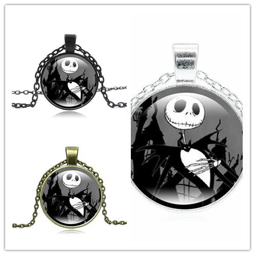 Hot!5pcs Classic Style Jewelry with Glass Cabochon Nightmare Before Christmas Jack Pattern Choker Long Pendant Necklace for children Party