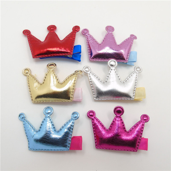 Crown Shape Girl Hair Clip PU Material Shinning Baby Hair Clip Saucy Tiara Hair Grips Silver Gold Classic Baby Girl Infant Clips