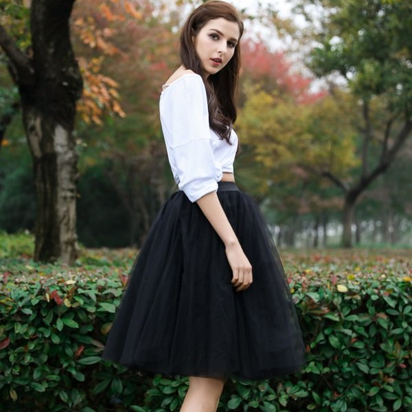 Wonderful Knee Length Women Tulle Skirt Custom Made Pleated Elastic Waist Skirts Chic Feminine Draped Layers Tutu