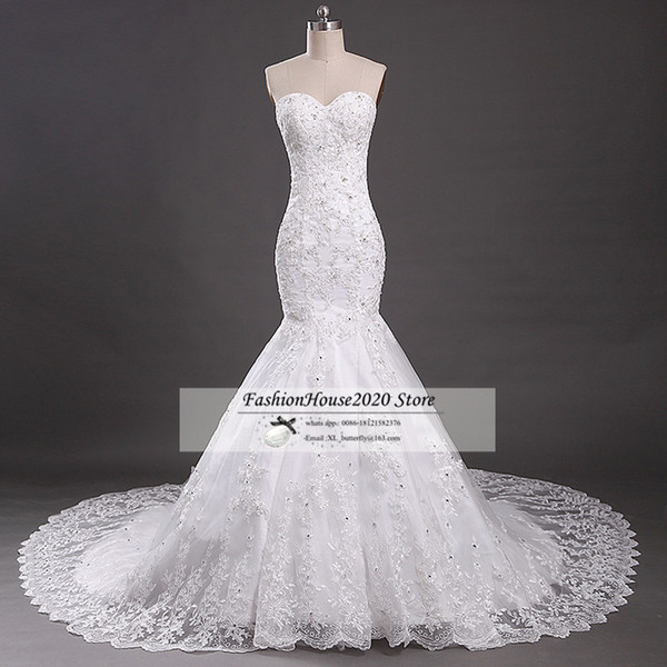Sexy Mermaid Lace Wedding Dresses 2017 Sweetheart Applique Beaded Fitted Trumpet Wedding Bridal Gowns Elegant Bride Dress Online
