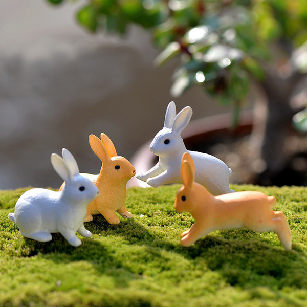 top popular Rabbit Bunny Miniatures Moss Animals Garden Gnome Lovely Figurine Terrarium Decoration Home White Big Ear Rabbits Accessories 2019
