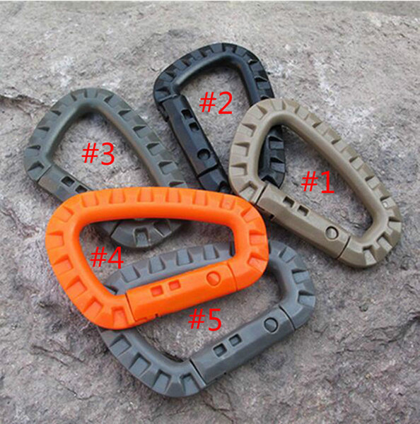 D Shape Mountaineering Buckle Snap Clip Plastic Steel Climbing Carabiner Hanging Keychain Hook Fit Outdoor Army EDC 100pcs Free DHL/Fedex