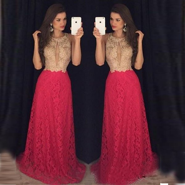Key Hole High Neck Prom Dresses Sweep Train Sleeveless Newest Long Formal Evening Gown God And Red Lace Custom Made Proms Dress
