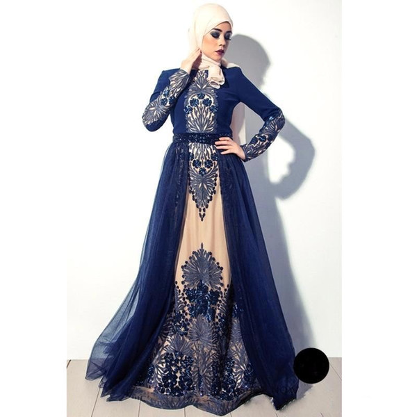 2017 Vintage Arabic Muslim High Neck Navy Blue Long Sleeves Evening Dresses Embroidery Tulle A Line Prom Gowns BA4923