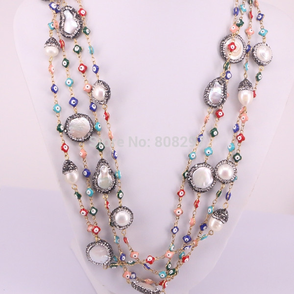 Fashion 4Pcs Pave CZ Nature Pearl Rosary Chain Necklace Multicolor Eye Charms Wire Wrapped Beaded Chains Necklaces