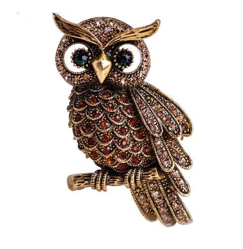 New Arrival Big Owl Brooches For Wedding Bouquet Vintage Wedding Hijab Scarf Pin Up Buckle femininos Broches Game Bijoux