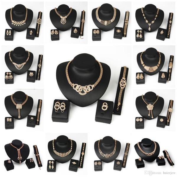 Brautjungfer Schmuck Set Ketten Armband Halskette Anhänger Ohrringe wie indische afrikanische Dubai 18k Gold Schmuck Party Schmuck Sets