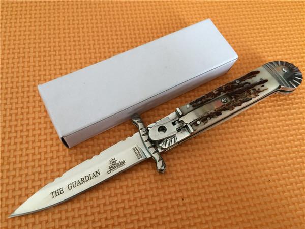 최고의 edtion Hubertus Solingen 이탈리아 후견인 스윙 가드 스윙 가드 아크릴 stag 폴란드어 완료 블레이드 접는 나이프 나이프