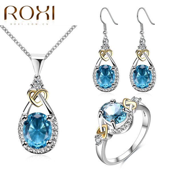 2017 ROXI Mother's Day Charms Pendant Necklace/ Drop Earrings / Ring Water Drop Of the Ocean Fashion Jewelry Sets for Women
