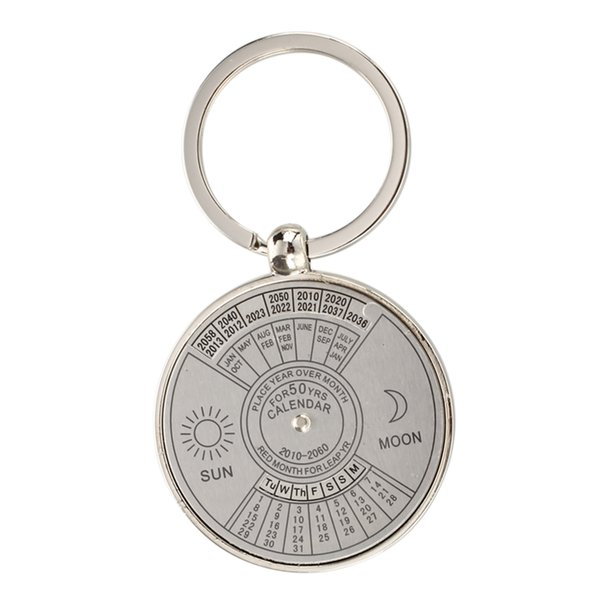 top popular Keychain key ring metal Perpetual Calendar pattern 2020