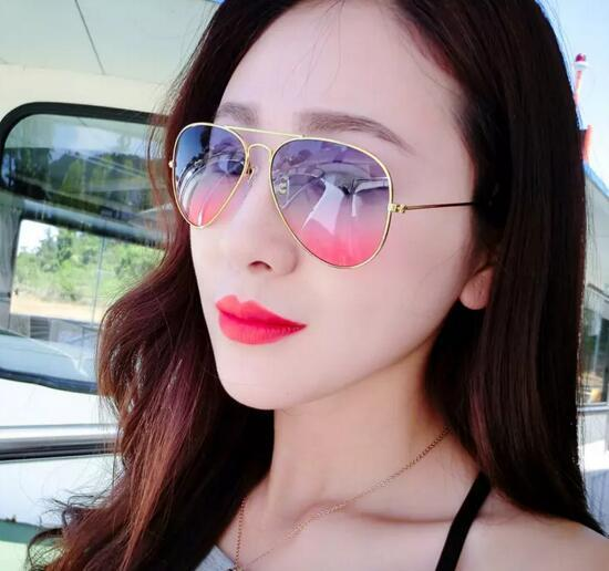 Cheap Branded 58mm Metal Frame Men/ Women's Sunglasses Gradient Color Lens Sun Glass MOQ 10 pcs