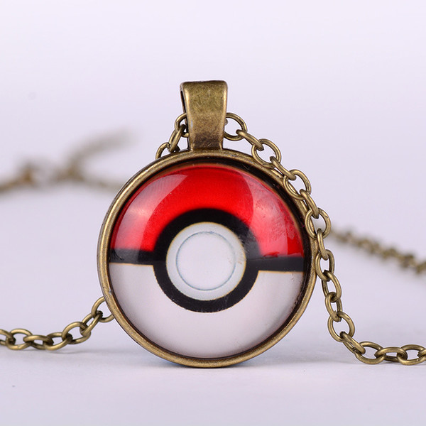 ball necklaces keychain Pocket Monsters Pikachu Eevee Charizard time gem glass cabochon necklace women men kids toy 17112907