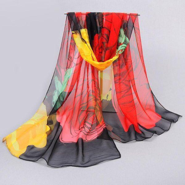 Wholesale-Accessories women scarf 2016 new design long shawl print scarves cape silk chiffon tippet muffler