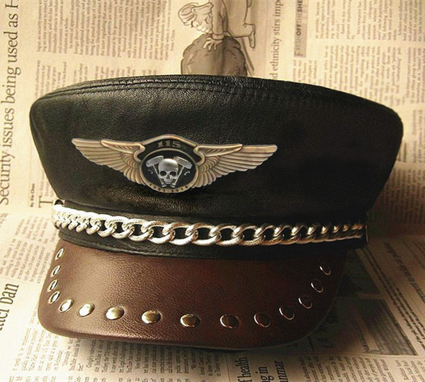 115th Anniversary Motorcycle Hat Casual Chain CLASSIC SKULL Wing Badge Genuine Leather Hat Biker Club Punk Rock Military Caps