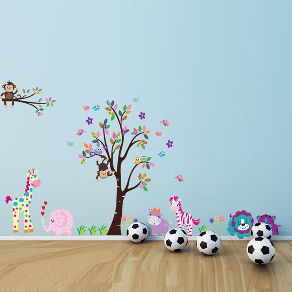 Cartoon Animals Wall Sticker With Giraffe Monkey Lion Owl Pattern For Kids' Room Background Art Decals Mural