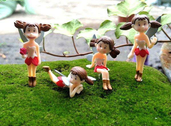 4pcs Flying Xiaomei Figures Flower Fairy Garden Decoration Terrarium Miniatures Baison Tools Art Craft Gnomes Home Accessories