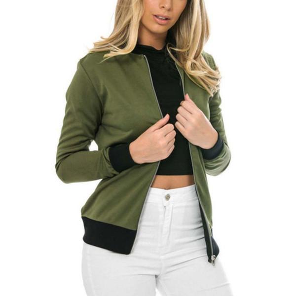 Women Long Sleeve Jacket Classic Style Zip Up Biker Vintage Stylish Coat Outwear