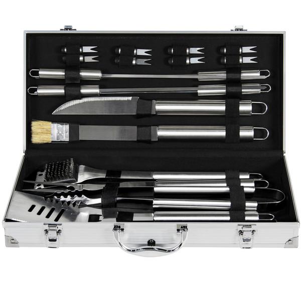 Sistema de herramienta de la parrilla del Bbq del acero inoxidable de BCP 19pc con la caja de almacenamiento de aluminio