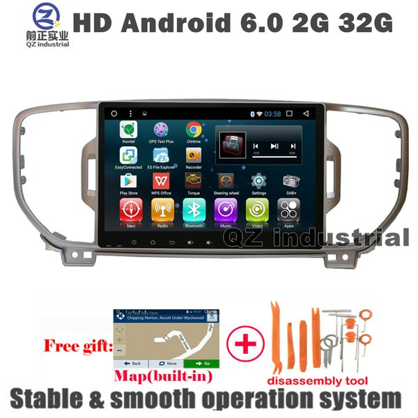 QZ industrial 9inch HD Android 6.0 for Kia Sportage KX5 2016 2017 Car DVD player with 3G 4G WIFI GPS BT Radio RDS Navi SWC free map