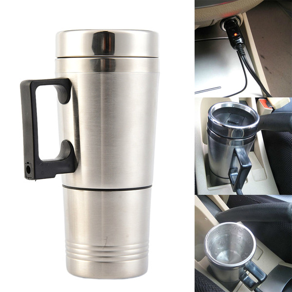 12V Car Heating Cup Stainless Steel Liner Car Mug With The Electric Kettle Cup Milk Water Tea Coffee Bottle Warmer Heating Mug