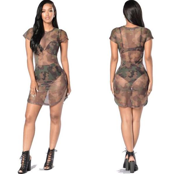 Women camouflage round neck net yarn in the waist sexy perspective short-sleeved high fork dress S-XL 2017 new fashion nightclub skirt